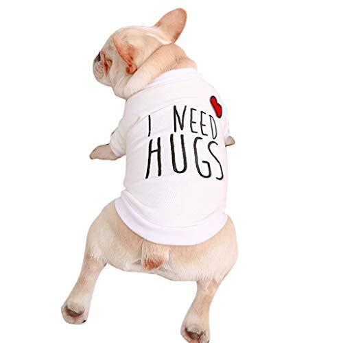 austier Kleidung Atmungsaktiv I Need Hugs Muster WesteT-Shirt für Kleine Mittlere Hunde Bulldogge (XXL, Weiß) ()