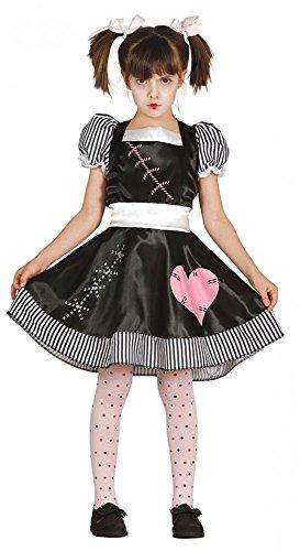 Killer Doll Mädchen Kostüm Halloween Horror-Puppe Kinderkostüm Kleid, Kindergröße:134 - 7 bis 9 Jahre