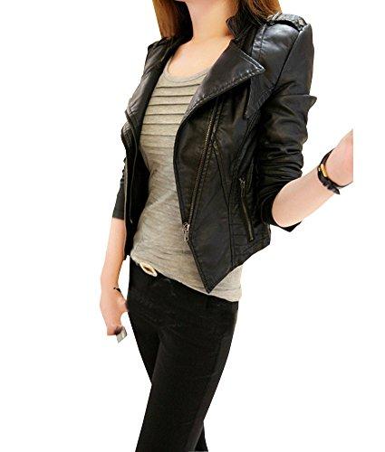 Damen Lederjacke Kunstlederjacke Bikerjacke Einfarbig Damenjacke Jacke kurz M Schwarz
