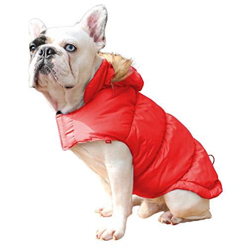 Withu Windproof Warmer Hundemantel Gepolsterte Jacke Pet Kleidung Outfit Herbst Winter Kleidung Mit Hut Rot XL (Halloween-spiele Für Eine Herbst-festival)