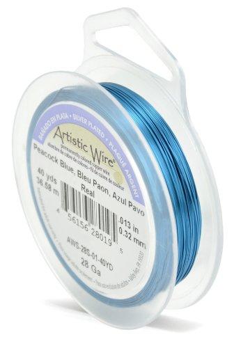 Artistic Wire Beadalon 40 914 28 g Câble plaqué argent, bleu Paon