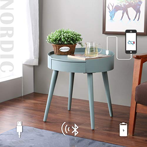 QCRLB Comodino Moderno Bluetooth Comodino Audio in Legno massello Tavolo Basso Creativo Tavolino Rotondo Smart Smart (Color : Light Green)