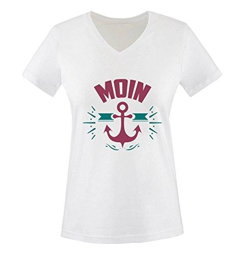 Comedy Shirts - MOIN - ANKER - Damen V-Neck T-Shirt - Weiss / Fuchsia-Türkis Gr. XXL