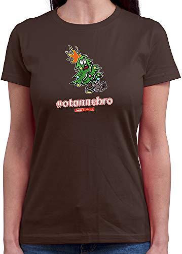 (HARIZ  Damen T-Shirt Rundhals Pixbros Otannebro Xmas Weihnachten Cool Lustig Winter Inkl. Geschenk Karte Braun L)
