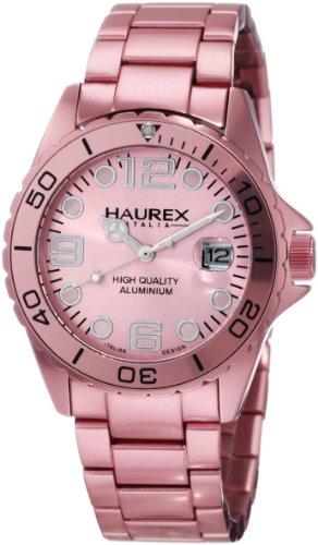 Haurex Italy Ink 7K374DP1 - Reloj analógico de cuarzo para mujer, correa de aluminio color rosa