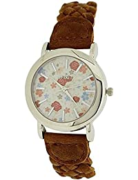 Spirit Ladies Silver Tone Bezel Floral Dial Brown Woven Strap Watch ASPL86