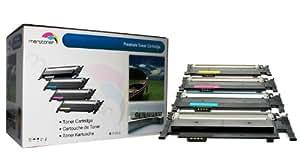 Premium 4 Cartouches de Toner Compatible pour SAMSUNG CLP CLX 3180 CLX3180 , CLX3180 N/FW/FN/W , CLX3185,CLX 3185 , CLX 3185 N/FW/FN/W (Noir 2.500 feuilles et couleurs ca. 2.000 feuilles)