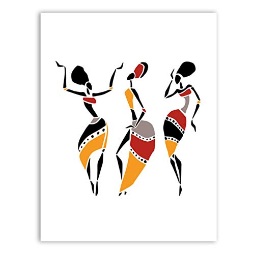 NOVELOVE Wandkunst Bild Abstrakte Afrikanische Frau Poster Drucken Leinwand Malerei Geschenk Ohne Rahmen 40 * 60 cm -