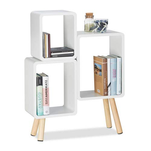 relaxdays 10021924_49 scaffale 3 scomparti a forma di cubo, legno mdf, 4 gambe, hxlxp: 69x52,5x18 cm, bianco