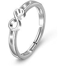 cbe70ec45c18 YFN 925 plata de ley Infinite Love simple-open ajustable anillos para mujer