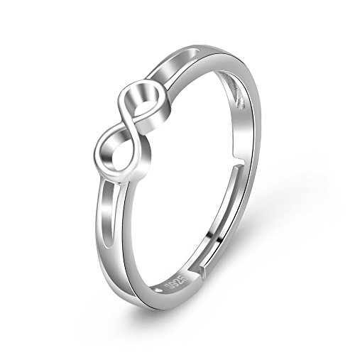YFN 925 plata ley Infinite Love simple-open ajustable