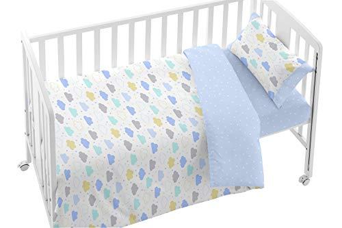 Burrito Blanco Bettbezug-Set für Kinderbett 008 mit Einer floralen Design Wolken/Cot Duvet 100{44589a1a6bb10e7fca8dd9ea4785f1d3d2a24cf535898ee6b622b2938a4d1d4c} Baumwolle/Cot Duvet für 60x120cm, Blaue und gelbe Farben