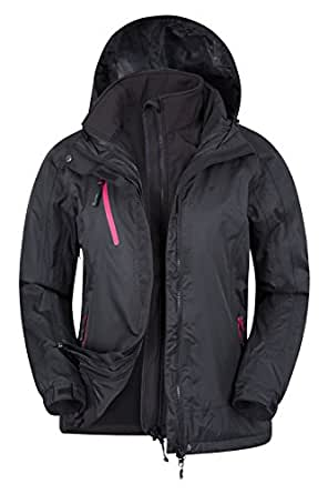 Mountain Warehouse Bracken Extreme Women's 3 in 1 Waterproof Jacket - Waterproof & Breathable with Storm Flap & Detachable Hood - Ideal for travelling or everyday wear Black 8