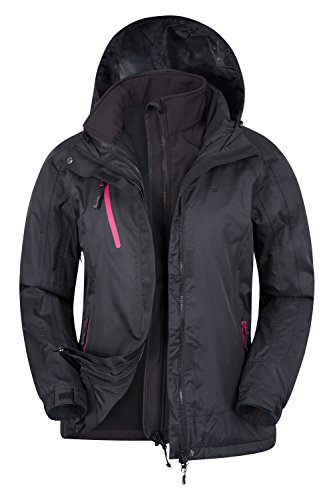 Mountain Warehouse Bracken Wasserfeste 3 in 1 Damen Winterjacke, warmer Fleecejacke, Regenjacke, Damenjacke, Funktionsjacke, Allwetterjacke, Doppeljacke, Übergangsjacke Schwarz DE 34 (EU 36)