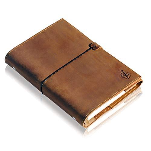 A5 Leder Notizbuch Nachfüllbar - 6-Ring Organizer A5 Binder - Ringbuch Nachfüllbar - Handgefertigtes Echtleder Notizbuch - Perfekt zum Schreiben, Planen, Reisen. Gemischte Einzelblätter 22 x 15 cm