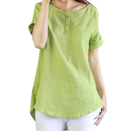 MRULIC Damen Frauen Sommer Casual Kurzarm Lose T-Shirt Baumwolle Leinen Bluse Tops Geschenk Zum Muttertag(Grün,EU-46/CN-2XL)