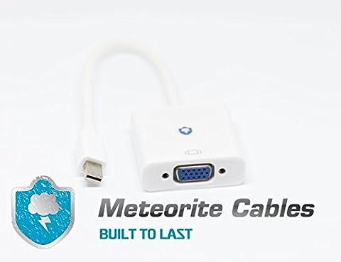 Mini DP vers VGA, compatible (Port Thunderbolt) Adaptateur Mini DisplayPort vers VGA (mâle à femelle, plaqué or, 1080p) pour MacBook, surface pro, écrans, écrans, Projecteurs et plus encore par câbles Météorite