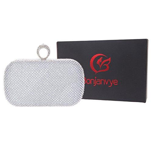 Bonjanvye Knuckles Shining Clutch Purses for Women Handbag and Evening Bags Silver