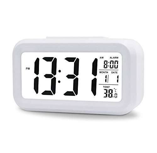"""5,3\"""" LED Digitaluhr Wecker Beleuchtung Digitalwecker Reisewecker mit Datum und Temperatur Anzeige, Schlummertaste, Sensorlicht und Nachtlicht - Schwarz(White)"""