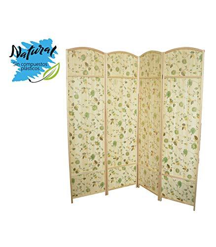 Paravent aus Bambus mit Blumen, Orientalischen Stil. Natural Design. Ideal für Wohn - /Schlafzimmer (180 x 180 cm). -Hogarymas-