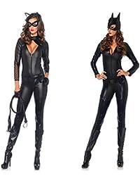 gyh damen sexy black catwomen hangender hals overall kostum pvc latex body sexy leder halloween