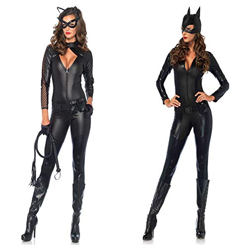GYH Damen Sexy Black Catwomen Hängender Hals Overall Kostüm PVC Latex Body Sexy Leder Halloween Catsuit,M