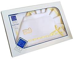 Idea Regalo - set lenzuolino 3 pz lettino da ricamare con inserti in san gallo (giallo)