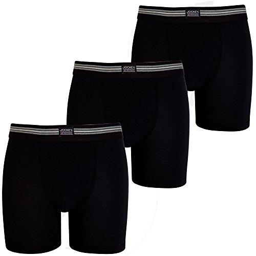 JOCKEY 3er Pack XL Farbe 999 3 x schwarz enger etwas länger geschnitten BOXER SHORTS (Jockey-boxer-unterwäsche)