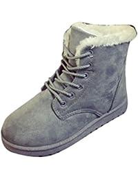 FEITONG Mujer Botas Plano Tobillo Cordón Arriba Forrado Invierno Calentar Nieve Zapatos