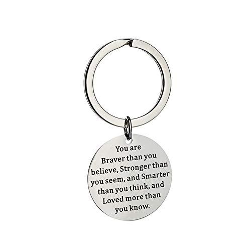 Daesar Edelstahl Herren Schlüsselanhänger mit Gravur You Are Braver Than You Believe Rund Schlüsselanhänger Freundschaft