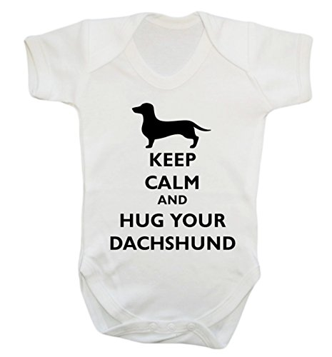 Keep Calm and Hug Ihr Dackel Baby Weste Body Strampler Gr. M, weiß (Hugs Ärmel Lange Free)
