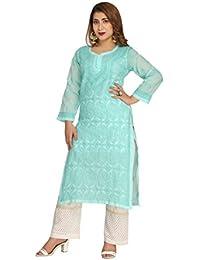 [Sponsored]ADA Handcrafted Lucknow Chikankari Ethnic Wear Cotton Kurti Kurta (A247240_Sea Green)