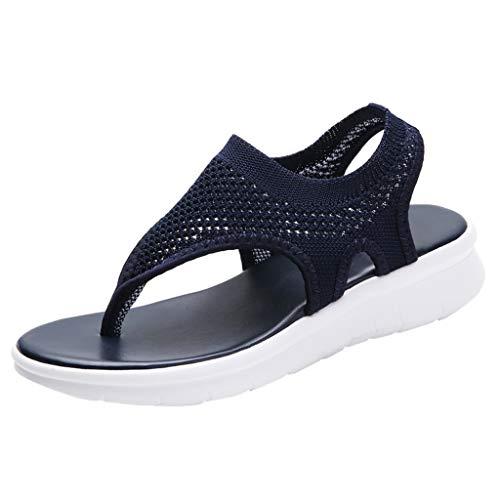BASACA Sandalen Damen Frauen Mädchen Atmungsaktiv Komfort Aushöhlen Lässige Sommer Schuhe Frau Keil Mode 2019 (42 EU, V-Blau) (Emu Damen-stiefel Größe 8)