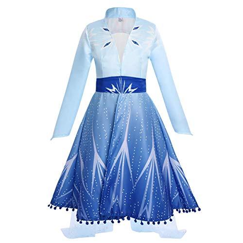 IWEMEK Mädchen Eiskönigin ELSA Kleid Schneekönigin Prinzessin Kostüm Schneeflocke Tüll Kleid Weihnachten Karneval Verkleidung Geburtstag Partykleid Outfits Blauer Mantel 4-5 Jahre