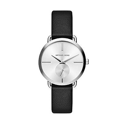 Michael Kors Portia - Reloj análogico de cuarzo con correa de cuero para mujer, color negro/gris