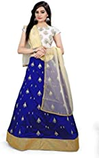 Rudra zone Women's Satin Semi Stitched Lehenga (RZF027, Off White, Free Size)