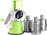 Sultan's Manual Rotary Cheese Grater - Round Vegetable Slicer having 3 Interchangeable Blades for Vegetables,