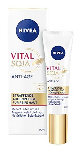NIVEA Vital Soja Anti-Falten Augenpflege im 1er Pack (1 x 15 ml), Anti Aging Augencreme mildert Falten und Linien, Hautcreme reduziert dunkle Augenringe