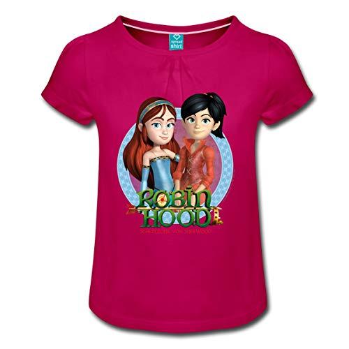 Spreadshirt Robin Hood Maid Marian Und Scarlett Mädchen T-Shirt mit Raffungen, 8 Jahre, Fuchsia