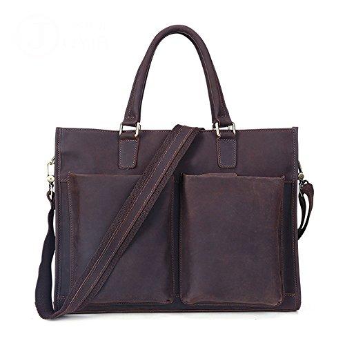 Weq Herren Messenger Bag Vintage Aktentasche Leder, Schulranzen Schulter 13 Zoll Netbook Laptop Tablet Handtasche Burgund Braun