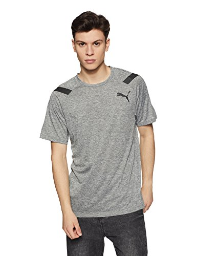 Puma Herren Bonded Tech SS Tee T-Shirt, Medium Gray Heather, L (Saum-label)