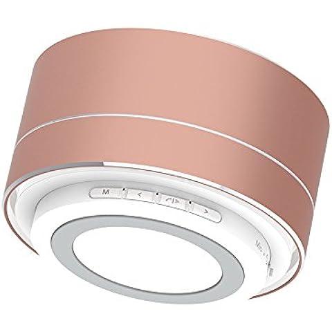 Expower Mini Altoparlante Wireless Bluetooth 3,0 Subwoofer Speaker Premium Cilindro 3W*2 Casse Acustiche Portatili Compatibili (Oro Diffusore)