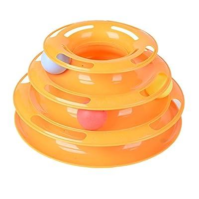 ESHOO Three Layers Pet Toys Intelligence Crazy Play Ball Tray Cat Toy