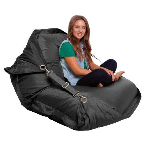 Bazaar Bag Großer Sitzsack mit Gurten, Schwarz (für Innen- und Außenbereich)
