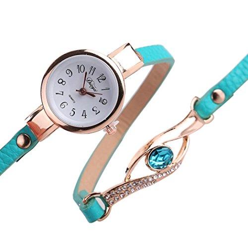 Frauen-Armbanduhr - Kingwo Art- und Weisefrauen-Diamant-Verpackung um Leatheroid Quarz-Armbanduhr(g um Leatheroid Quarz-Armbanduhr(Grün)