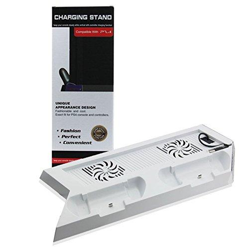 PS4 Controller Ladestation Standfuß mit Kühler Lüfter 3x USB Anschluss weiß - booEy