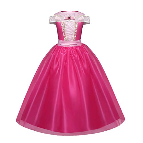 Coconute Mädchen Prinzessin Kleid Kinder Kurzarm Schulterfrei Rüschen Rüschen Patchwork Party Rock Cos Verrücktes Kleid Partei Kostüm Outfit Halloween Bühnenperformance(Hot Pink,110)