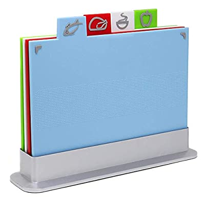 Index Coloured Chopping Board Set | Non-Slip Set of 4 Colour Coded Cutting Boards | Includes Stand | Dishwasher Safe | M&W