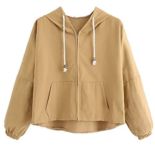 iHENGH Vorweihnachtliche Karnevalsaktion Damen Womens Print Letter Solides Langarm Sweatshirt Mit Kapuze Pullover Tops Bluse(L,Khaki)