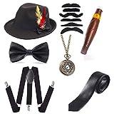 Beelittle 1920er Jahre Mens Gatsby Zubehör Set Trilby Manhattan Fedora Hut, Y-Rücken Hosenträger, Gangster Krawatten, Puff Zigarre, Vintage Taschenuhr (H)